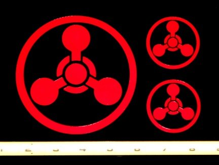 Hazard - Chemical Weapons -3 set HQ Single Color High Red Black Vinyl Decals! -