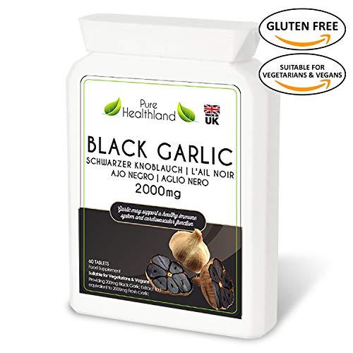 Gluten Free ODORLESS Black Garlic Supplement Pills for Men & Women. High Potency Equal to 2000mg Fresh Garlic Bulbs Helps Lower Cholesterol Regulate Blood Pressure Naturally. Vegan Vegetarian Tablets