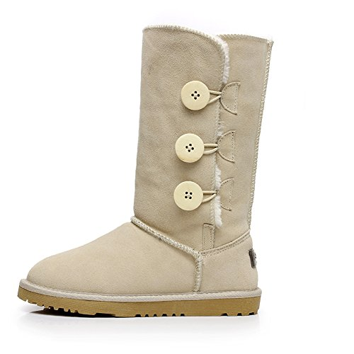 rismart Womens Fashion Triplet Button Suede Snow Boots Mid-Calf Warm Winter Boots Beige SN1073 US6.5 wAHplYraI