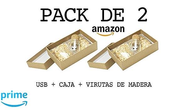 PACK de 2 USB (4 GB) Para Fotógrafos Botella de cristal con corcho + Caja + Virutas de Madera Memoria USB para bodas Pendrive USB para fotógrafos USB ...