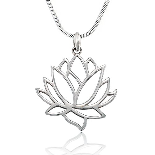 925 Sterling Silver Blooming Lotus Cut Out Pendant on Alloy Necklace Chain, 18 inches