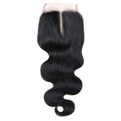 Lanyi Hair Middle Part Human Hair Lace Closure Brazilian Hair Body Wave 130% Density Natural Black Color(Middle Part 20)