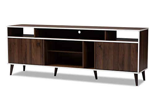 Baxton Studio 148-8770-AMZ Artille Tv Stand, Walnut Brown White