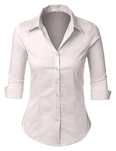 LE3NO Womens Roll Up 3/4 Sleeve Button Down Shirt with Stretch, L3NWT574A_IVORY, ()