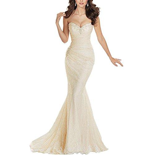 Alanre Sweetheart Beaded Lace Wedding Dress Bride Gown Mermaid