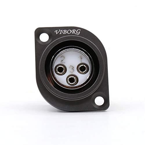 Insulator Teflon (VIBORG Pure Copper XLR 3 Pin Female Socket Panel Mount Chassis Connector Teflon Insulator 1PC (Rhodium Plated))