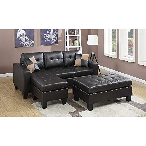 Poundex PDEX-F6927 Espresso Bonded Leather Piacenza Sectional Sofa with Ottoman, Brown ()