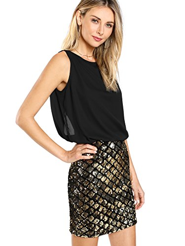 Romwe Women's Sexy Layered Look Fashion Club Wear Party Sparkle Sequin Tank Dress