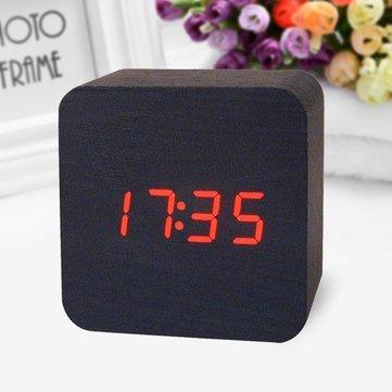 Reloj Digital sansido decorativo reloj despertador Matin electrónica reloj digital impermeable madera con control del sonido