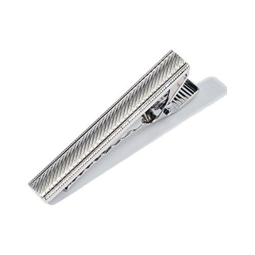 Hook & Albert Stripe Etched Tie Bar | Silver