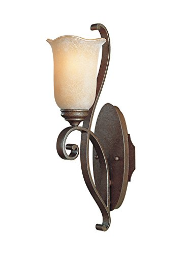 Etruscan Collection - Murray Feiss WB1193CB One-Light Tuscan Villa Collection Wall Bracket, Corinthian Bronze with Beige Etruscan Glass Shade