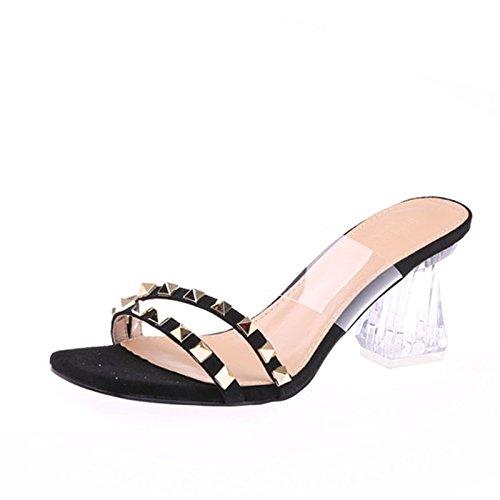 KPHY Hausschuhe Sexy Hausschuhe KPHY Zehen Nieten Pumps High Heels 7Cm Transparent Kristall Und Coole Schuhe. d28fec