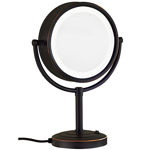 GURUN 8.5-Inch Tabletop Oil Rubbed Bronze Double-Sided LED Lighted Makeup Mirror with 7x Magnification, M2208DO(8.5in,7x)