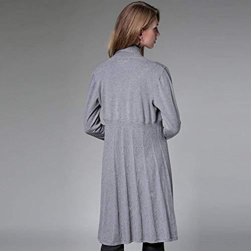 Moda Pullover Cappotto A Grazioso Autunno Comodo Outerwear Eleganti Lunghe Casual Monocromo Maglia Donna Giubbino Stlie Lunga Giacca Aperto Grau Maniche Vita Forcella Alta Knit wXzpqn8x