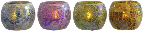 Mosaic Glass Tealight Candle Holders with LED Tealights. Set