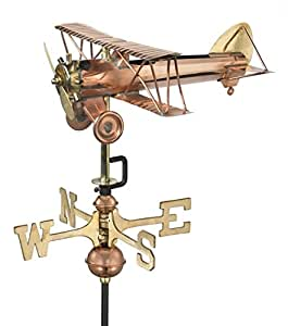 """14"""" Handcrafted Polished Copper Classic Style Biplane Outdoor Weathervane with Garden Pole"""
