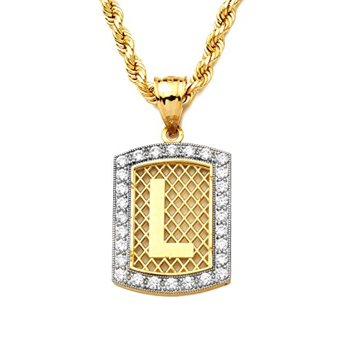 LoveBling 10K Yellow Gold Dog Tag Initials Charm Pendant w/CZ Border (Available from A-Z) (L)