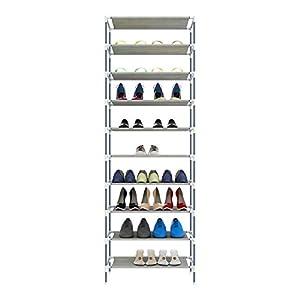 Hicient Durable Shoe Rack Storage Organizer, 10 Tiers Space Saving Shoe Shelf, Adjustable Non-Woven Fabric Shoe Storage Cabinet