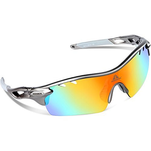 cheap youth oakley sunglasses 4v5b  HODGSON Polarized Sports Sunglasses with 5 Interchangeable Lenses for Men  Women Cycling Baseball Running Glasses, TR90 Unbreakable-Gray
