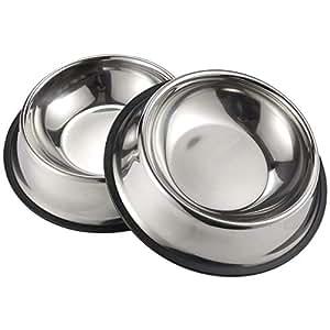 Amazon.com: Teesun - Cuencos de acero inoxidable para perros ...