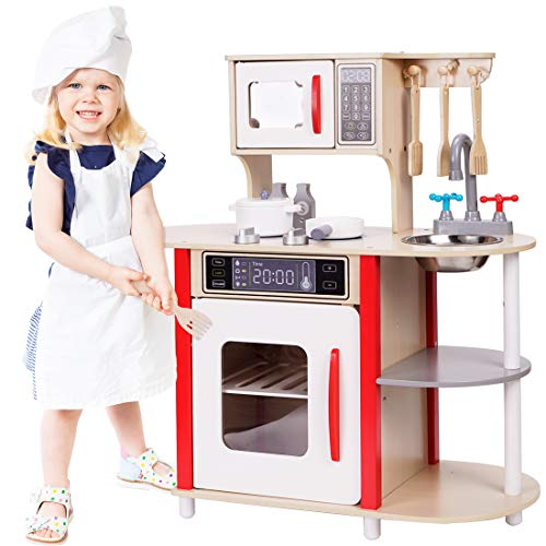TimeSport Wooden Kitchen Toys Playset Pretend Play for Kids Toddlers Cooking Set with Accessories Gifts for Boys and Girls