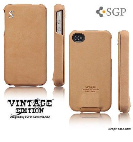SGP iPhone 4 Leather Case Vintage Edition Series [Brown]