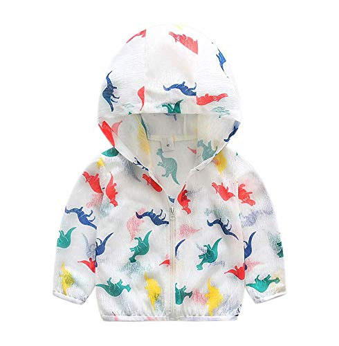 Kids Boys Dinosaur Summer UV Protection Ultrathin Zipper Hoodie Toddler Children Sun Protective Clothing Jacket, White, Size 4 Years = Tag 110 -