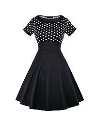 OLADY Women's Vintage Short Sleeve Polka Dots Cotton 1950s Cocktail Party Dress