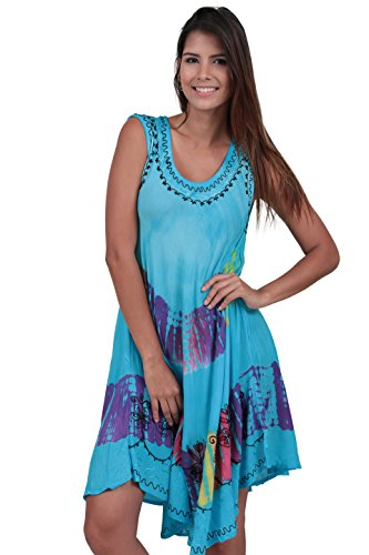 (M&B USA Women's Casual Dress Tie Dye Embroidered Summer Beach Cover Up (One Size, Blue) )