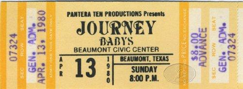 JOURNEY 1980 DEPARTURE TOUR Unused Concert Ticket BABYS