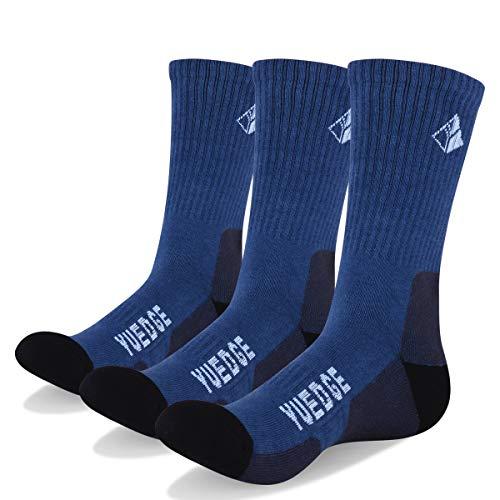 YUEDGE 3 Pairs Men's Walking Socks Cushion Crew Socks Outdoor Recreation Multi Performance Trekking Climbing Camping Hiking Socks (XL) ()
