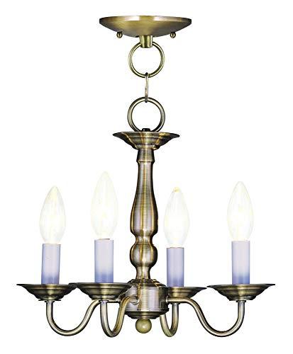(Livex Lighting 5010-01 Williamsburg 4-Light Convertible Hanging Lantern/Ceiling Mount, Antique Brass)