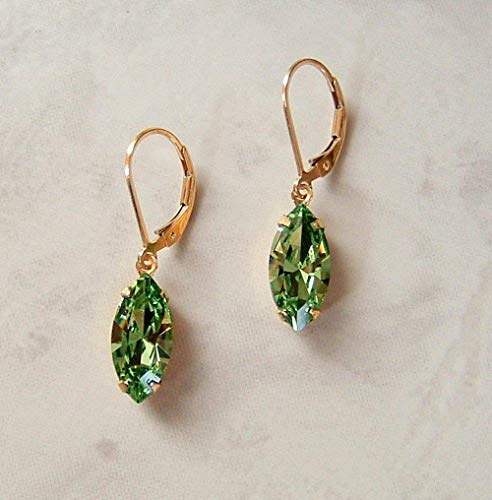 Stylish Simulated Peridot Green Marquise Gold Filled Leverback Earrings Made w/Swarovski Crystals Gift Idea