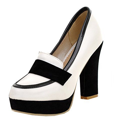 Rond Bout Talon Femme Aisun Escarpins Mode Blanc Haut Plateforme qTXY7
