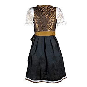 MS-Trachten Ladies Dirndl Traditional Costume Dress Festive Dress Helene Jaquard Black Gold