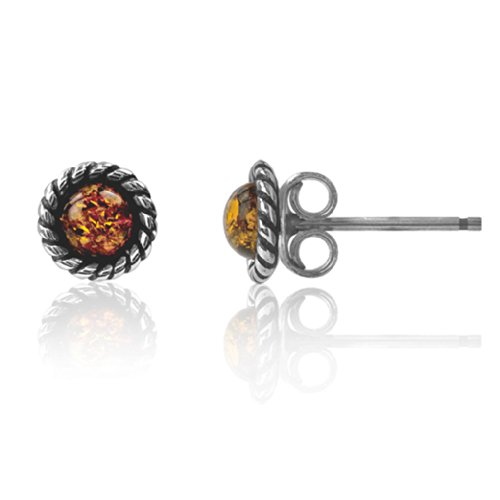 Amber Sterling Silver Round Victorian Small Tiny Stud Earrings Amber Stud Earrings
