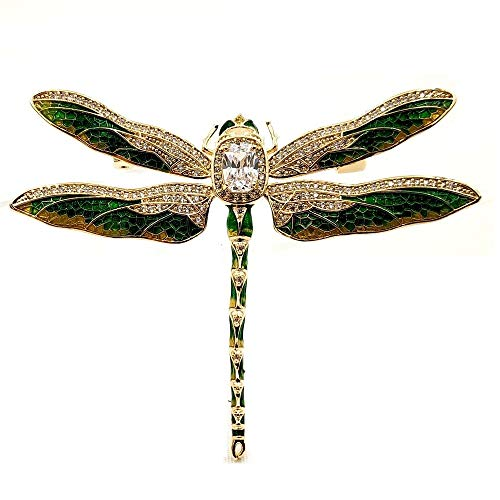 Brooch Enameled Dragonfly - DREAMLANDSALES Vintage Gold Tone Green Enameled Oversize Dragonfly Brooch Pin Insect Jewelry Collection
