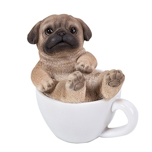 Pacific Giftware Pug Puppy Adorable Mini Teacup Pet Pals Puppy Collectible Figurine 3.25 Inches