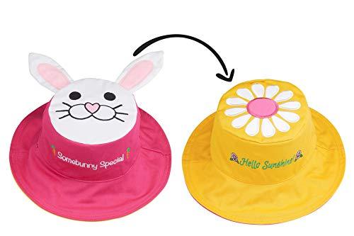 FlapJackKids - Kids' Sun Hat - Bunny/Daisy Large (4-6 yrs) ()