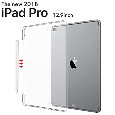 Gosento iPad Pro 12.9 2018 Case, Apple Pencil's Magnetic Attachment Side Opening,Crystal Clear Shock Absorption Cover Soft TPU Gel Anti Scratch Transparent Back Case for iPad 12.9 2018(Frosted White)