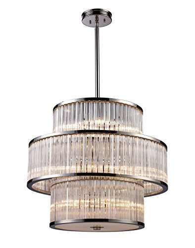(Elk Lighting 10130-5+5+5 Braxton 15 Light Crystal Pendant Lighting Fixture, Polished Nickel, Ribbed Glass Cylinders with White Diffuser, B11876)