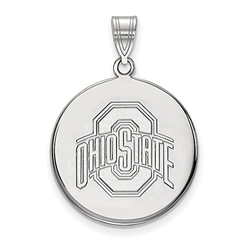 Sterling Silver LogoArt Official Licensed Collegiate Ohio State University (OSU) Large Disc Pendant - Ohio State University Seal Pendant