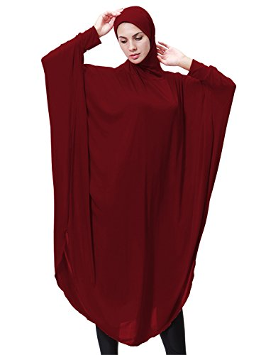 (GladThink Womens Muslim Bat's-wing-sleeves Dress Hijab Two in One WINE M)
