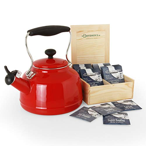 Chantal 37-Vint RE Vintage Teakettle with free Davidsons Tea Gift Box 1.7 Qt Red