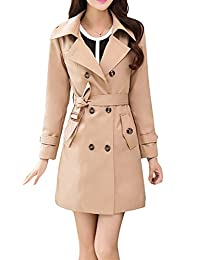 Womens Slim Fit Collar Double-breasted Plus Size Long Trench Coat with Belt Outwear