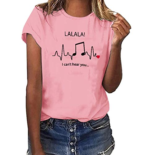 TANLANG☀Women Casual Summer Tie Sleeve Wrap V Neck Lalala Music Print Short-Sleeved T-Shirt Blouses Henry Tops Shirts Pink