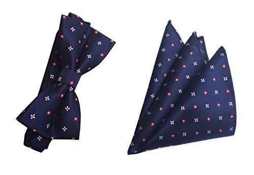 Men Youth Adult Women Navy Blue Repp Bow Tie Set Party Regular Polyester Bowtie