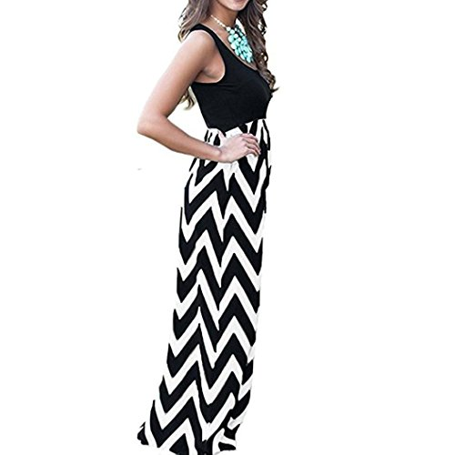 ❤Women Summer Dress,Todaies Womens Casual Dress Sleeveless Scoop Neck Wave Striped Tank Maxi Long Dress 2018 (M, Black 2) Today Sales