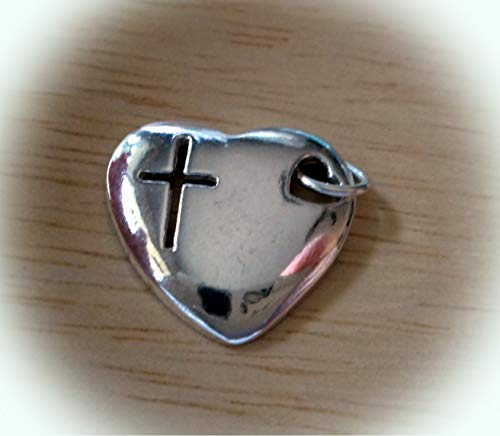 Sterling Silver 16x18mm Heart with Cut Out Cross & Heart Charm Hollow on Back Vintage Crafting Pendant Jewelry Making Supplies - DIY for Necklace Bracelet Accessories by CharmingSS