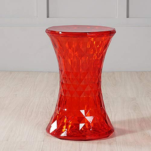 LifeX Nordic Designer Round Chair Transparent Color Crystal Seat PVC Plastic Sofa Stool Creative Living Room Change Shoe Bench Mall French Chair (Color : Red) ()
